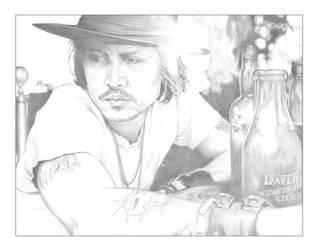 Johnny Depp A4 Sketch by Carl-Seager