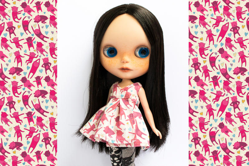 Pink Disco Bears Blythe Dress by Apolinarias