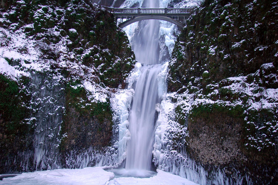 Multnomah Falls, Horizontal Winter Study by greglief