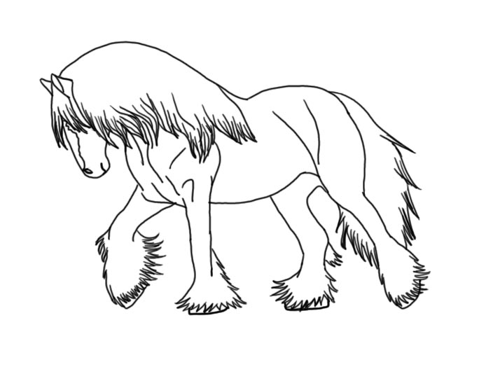 Gypsy vanner horse coloring pages coloring pages for Clydesdale coloring pages