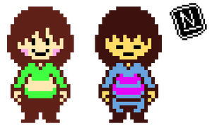 Chara and Frisk OW sprites (Updated)