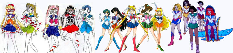 Sailor Moon The First 5 Scout Proto, Now And Saban
