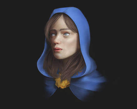 Woman with blue cape
