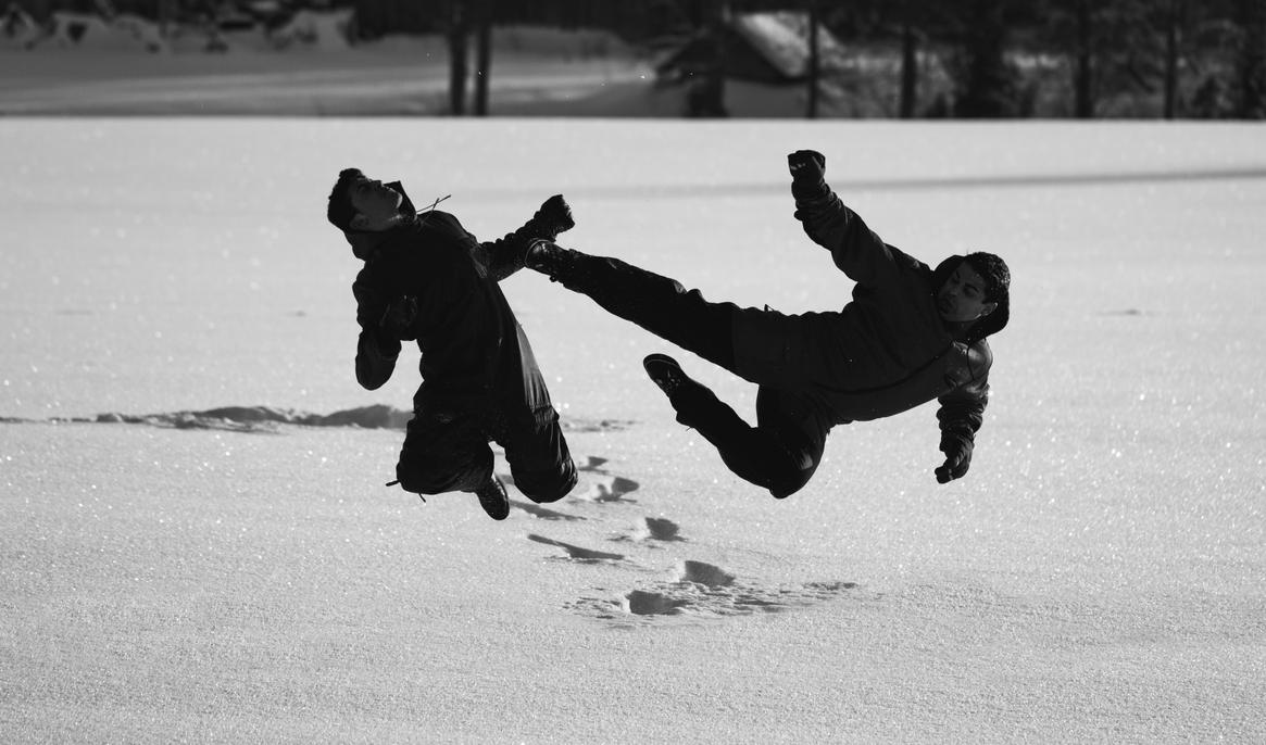 Jump Kick on the Snow by hmcindie