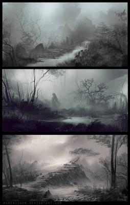 Three Landscape Speedpaintings 04/13