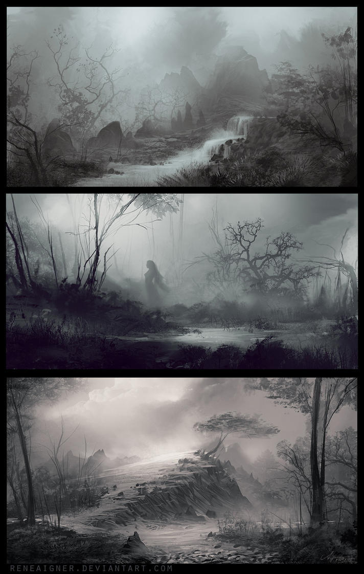 Three Landscape Speedpaintings 04/13 by ReneAigner