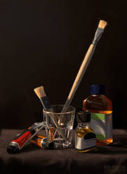 Still Life with Brushes and Paint