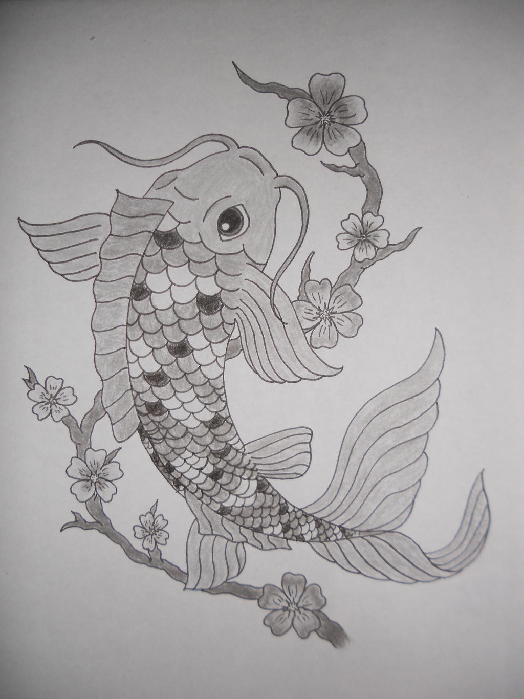 Koi fish black and white by crazy skull on deviantart for Black and white koi fish