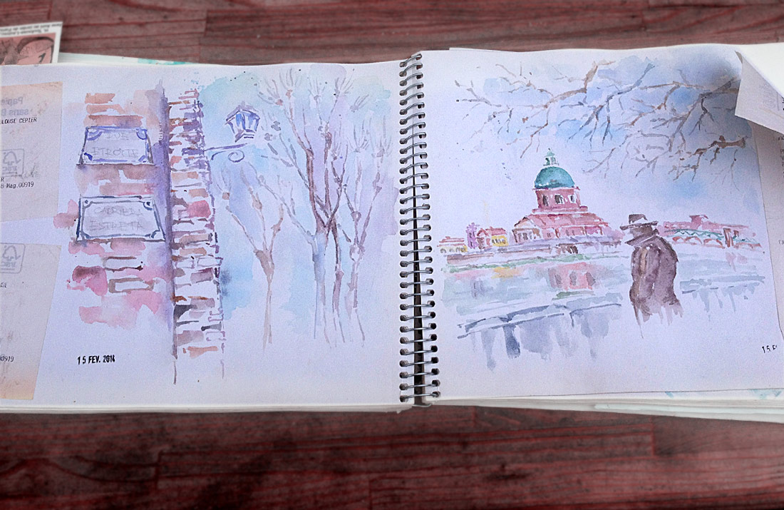 France - Toulouse Watercolor Sketch by Pamplemuss
