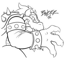 Bowser's Brawn Lineart by Harry64