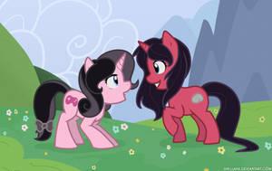 Pony Meadow - Kaeyi and Nina by Shellahx
