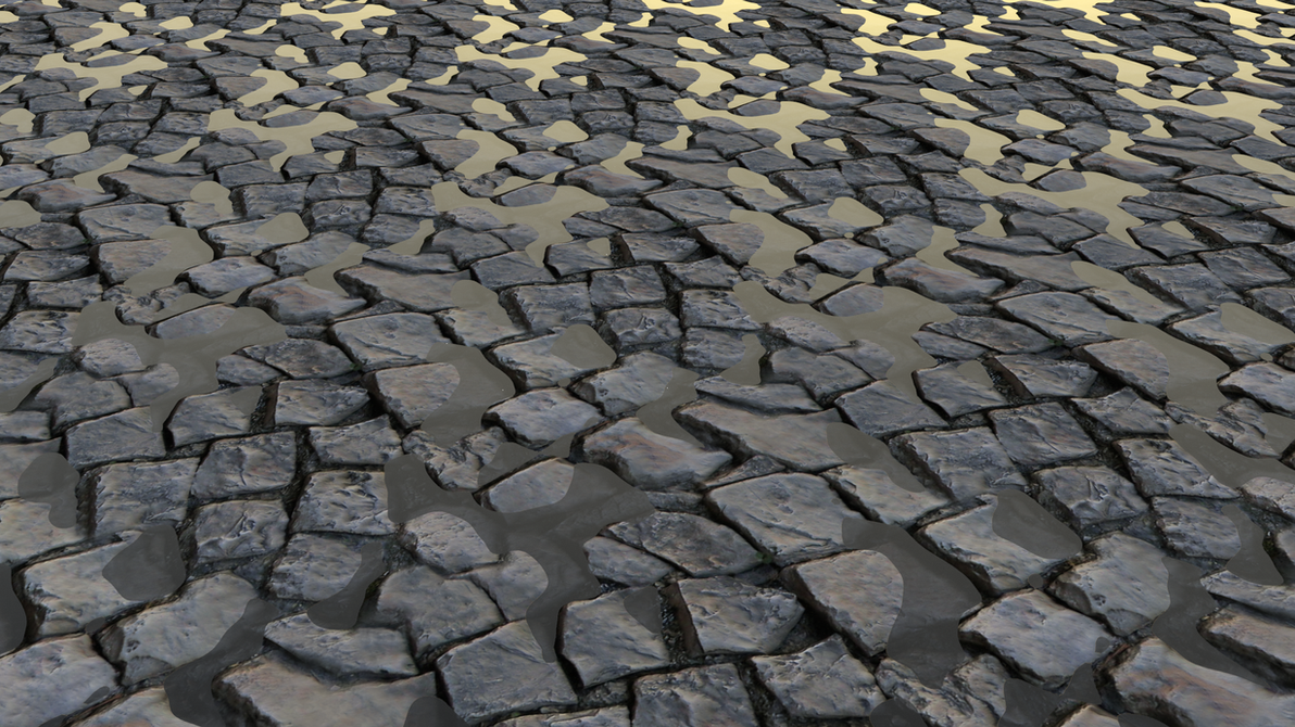 cobblestone with water by Shinkira
