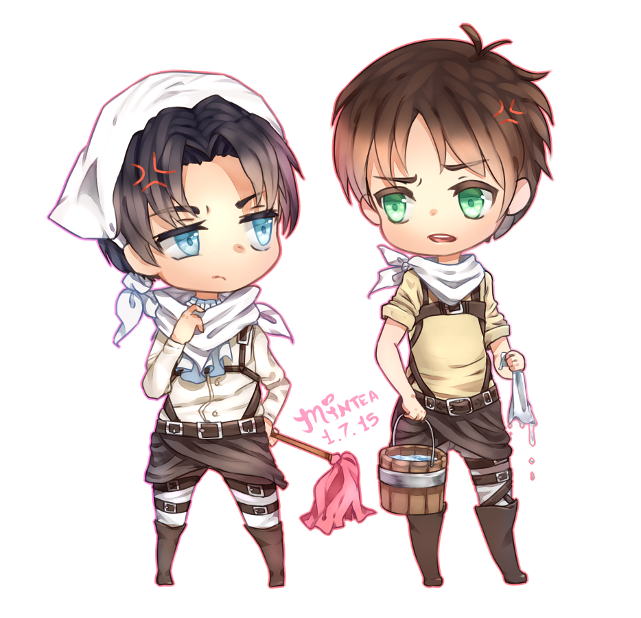 c levi and eren chibi by minteaparty on deviantart
