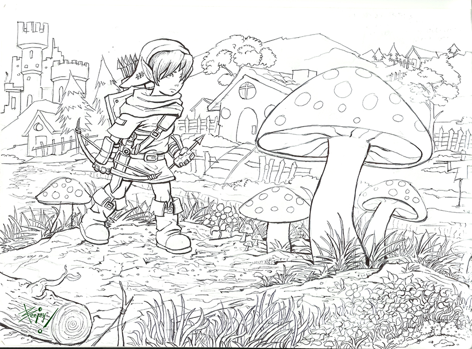 Line Art Zelda : The legend of zelda link to past line art by