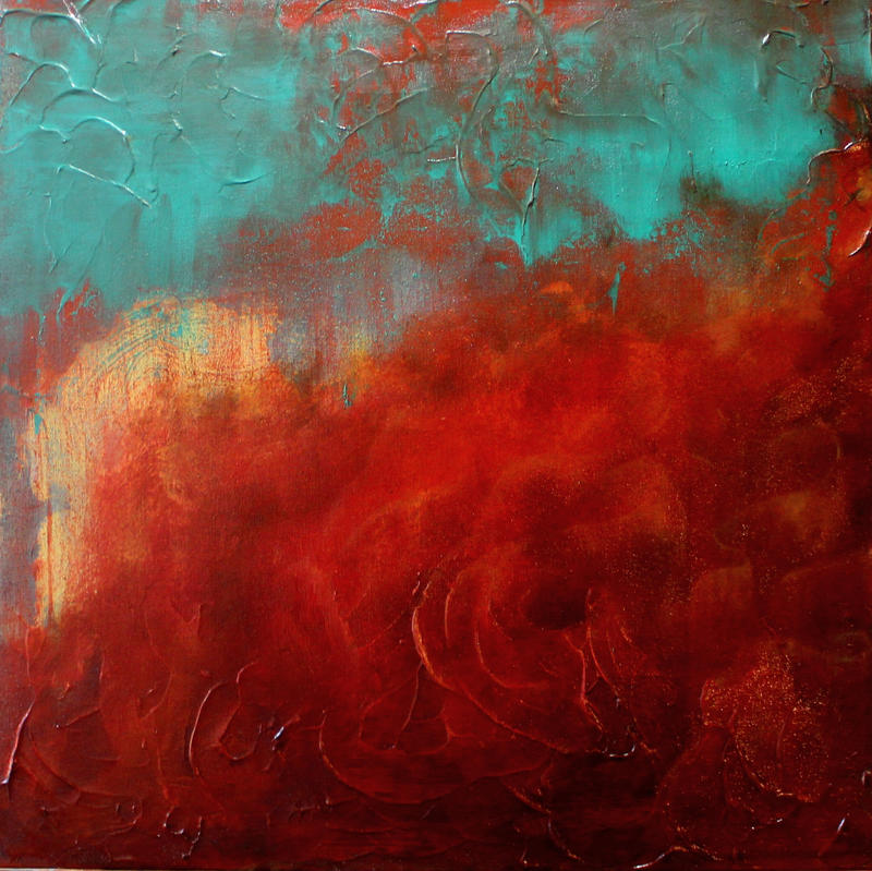 Red Abstract 1 by HeatherHowellArt