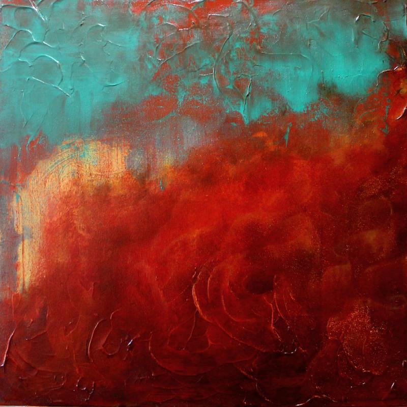 Red Abstract 1 by HeatherHowellArt