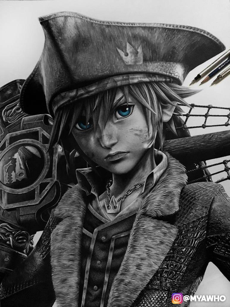 Pirate Sora Graphite Drawing by MyaWho
