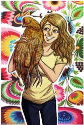 girl with a hen