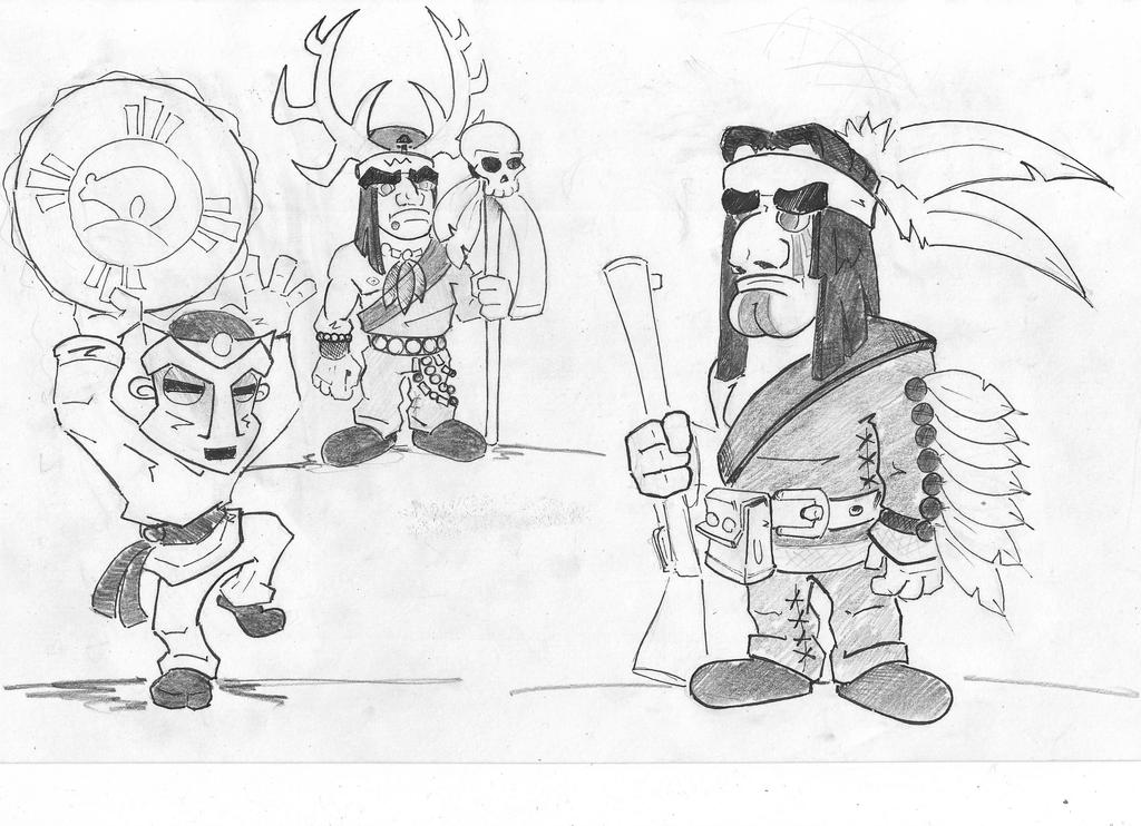 Native American characters by torzhinskiy