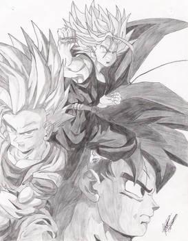 Trunks, Goku, Gohan