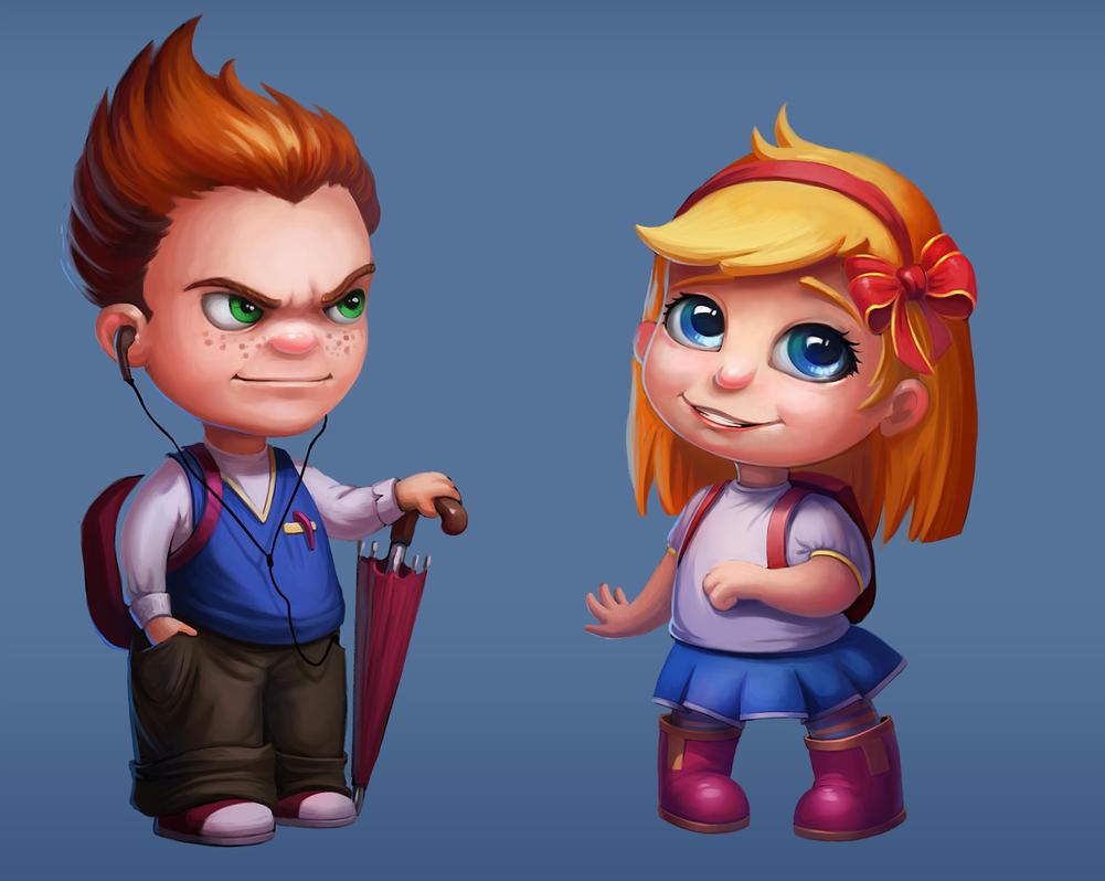 Boy and girl by lepyoshka
