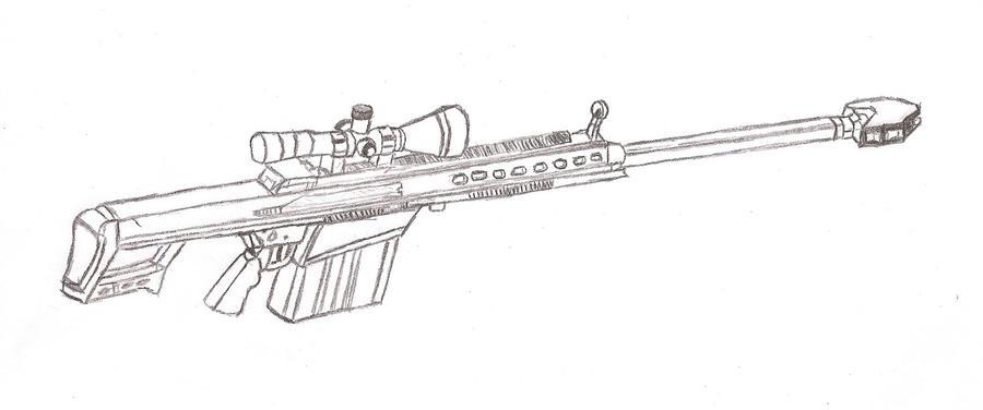 how to draw a 50 barrett sniper rifle