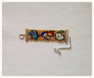 Johto Starter Pokemon Beaded Bracelet by kitsunesama7