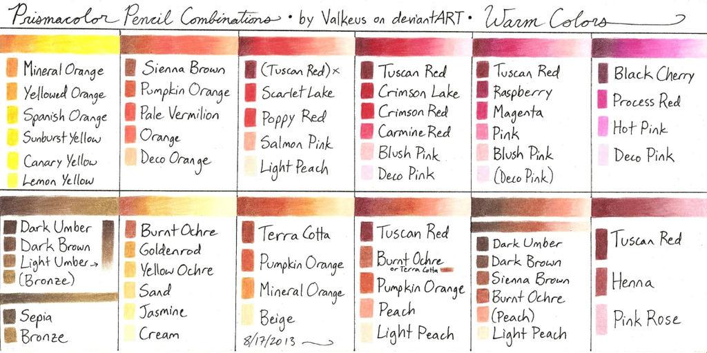 Prismacolor Pencil Combinations II - Warm Colors by Valkeus on ...