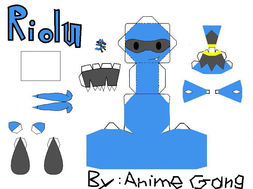 Riolu Papercraft Template by AnimeGang