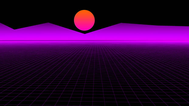 Synthwave 1980s poster style sun and purple neon