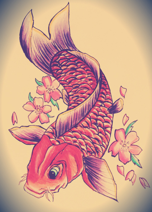 Koi tattoo design by ahsr on deviantart for Small coy fish