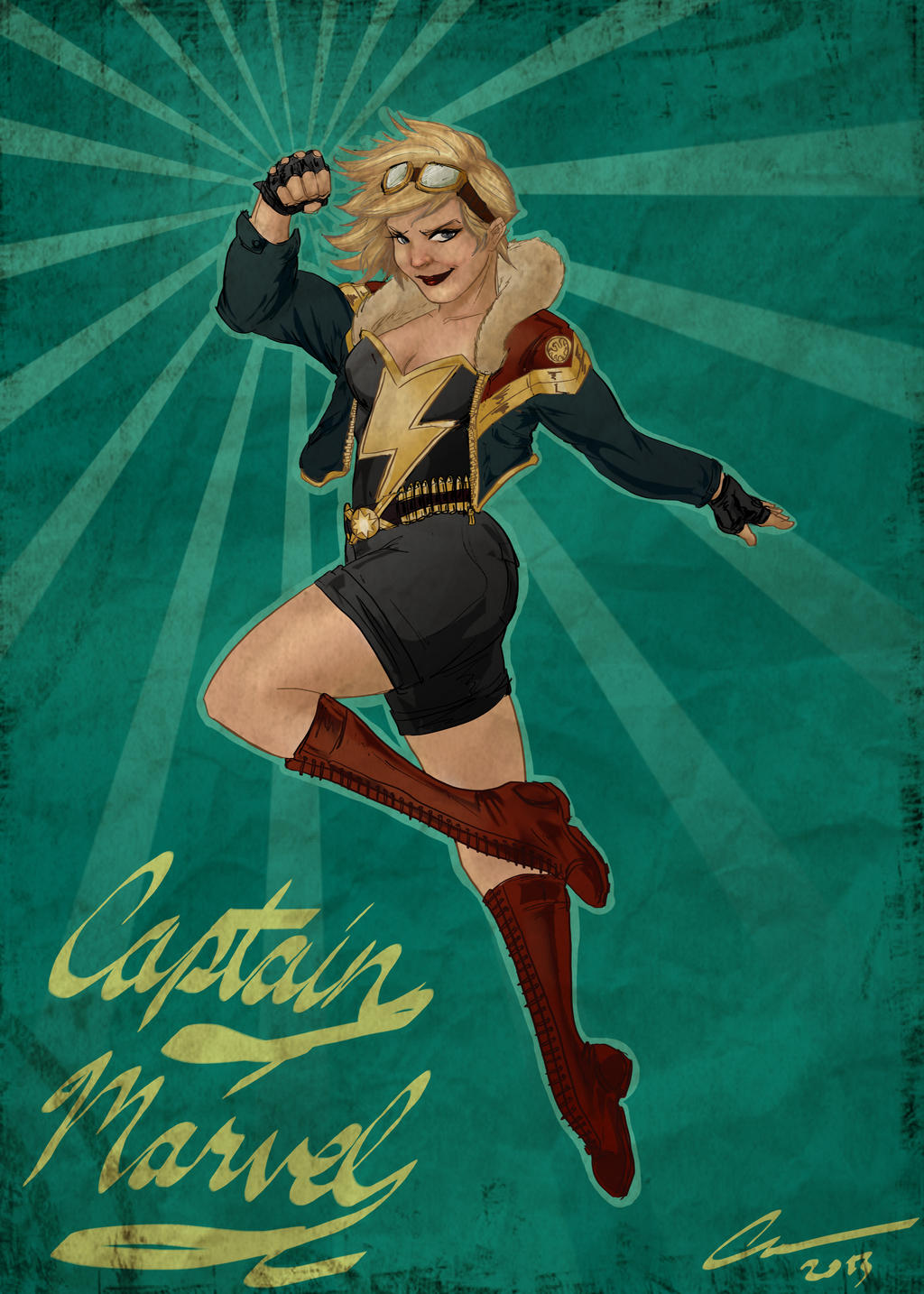 Captain Marvel Pin up version by randomality85