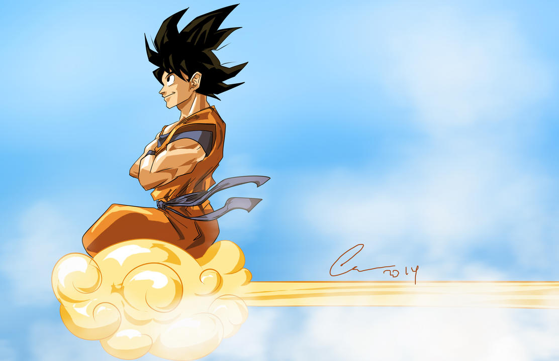 Goku and Nimbus by randomality85