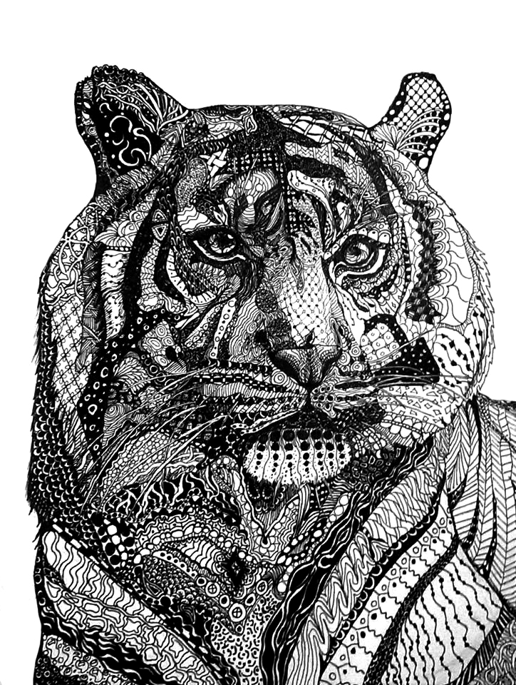 Zentangle tiger by IClimbPyramids