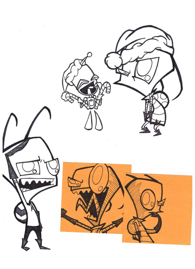 Invader Zim outlines (FANART) by AwesomeAartvark on DeviantArt