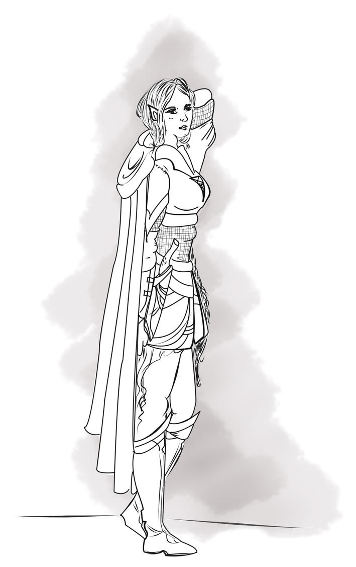 Line Work Art : Nimarilien elf line work by sibylwhite on deviantart