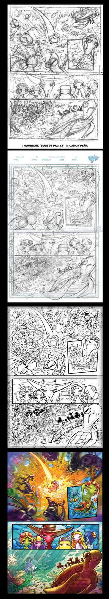 Squids comic process 01 by pecart