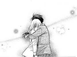 Ayumu hug Hiyono by mikanxsakura