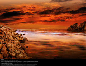 Ocean Sunset in Orange - Stock by Thy-Darkest-Hour