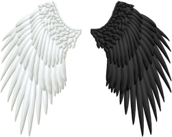Good and Evil Angel Wings PNG by Thy-Darkest-Hour