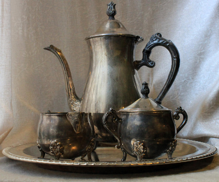Silver Tea Service 02 - Stock by Thy-Darkest-Hour