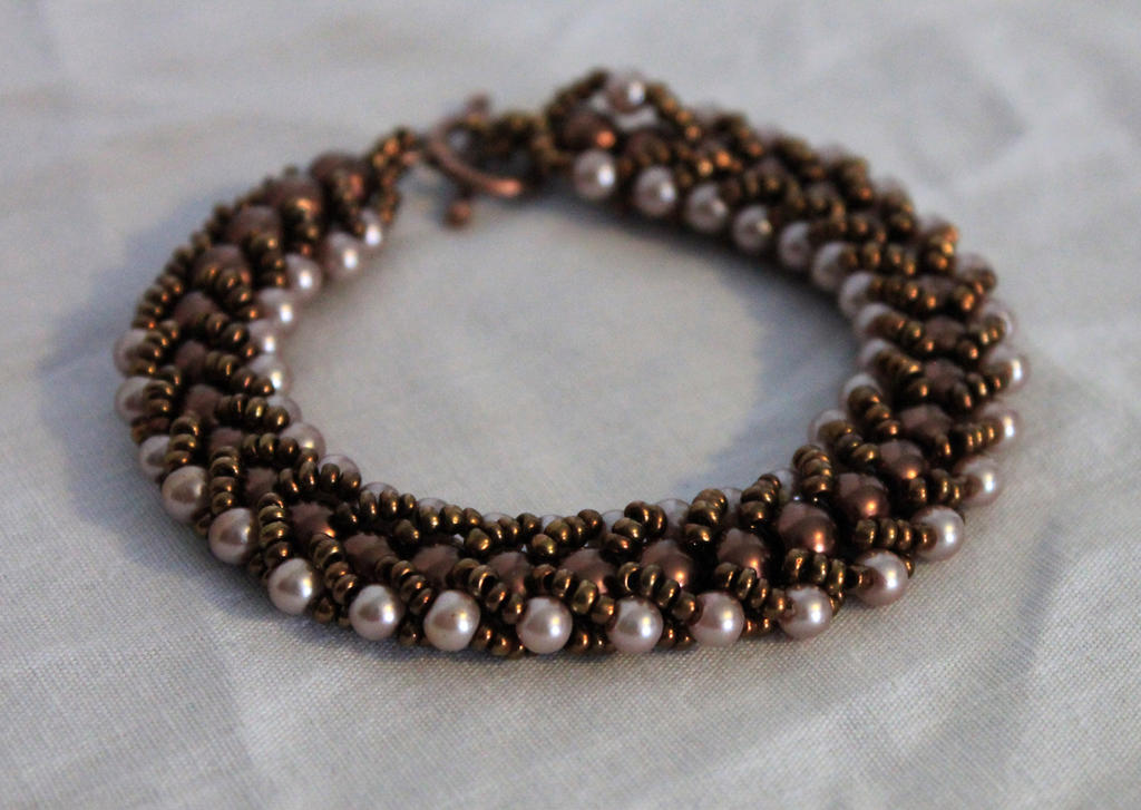 Bronze Pearls Bracelet by Thy-Darkest-Hour