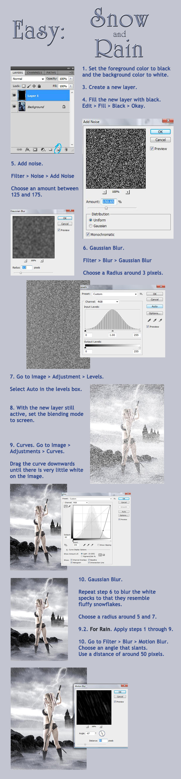 Easy Snow and Rain Tutorial by Thy-Darkest-Hour