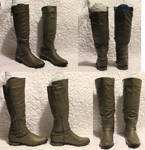 Knee Boots - Gray Leather