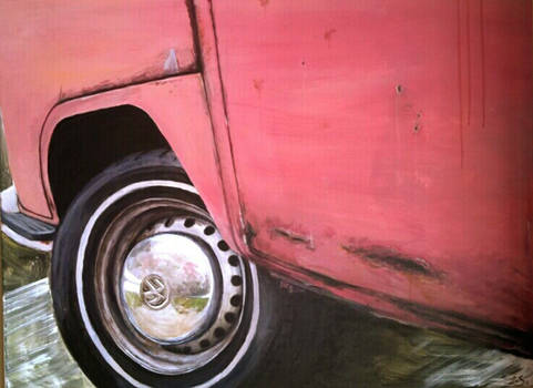 Pink Bus Front Wheel Closeup Angle
