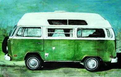 Green camper VW Bus