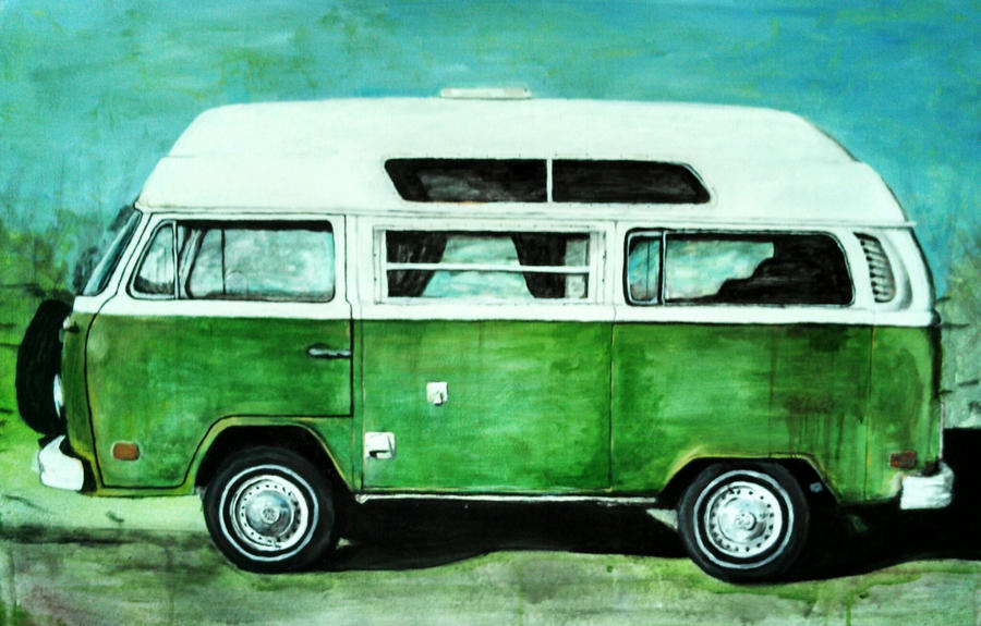 Green camper VW Bus
