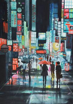 Tokyo street watercolor