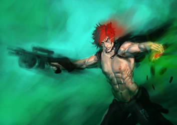 guns muscles and red punk hair by Musashi-son