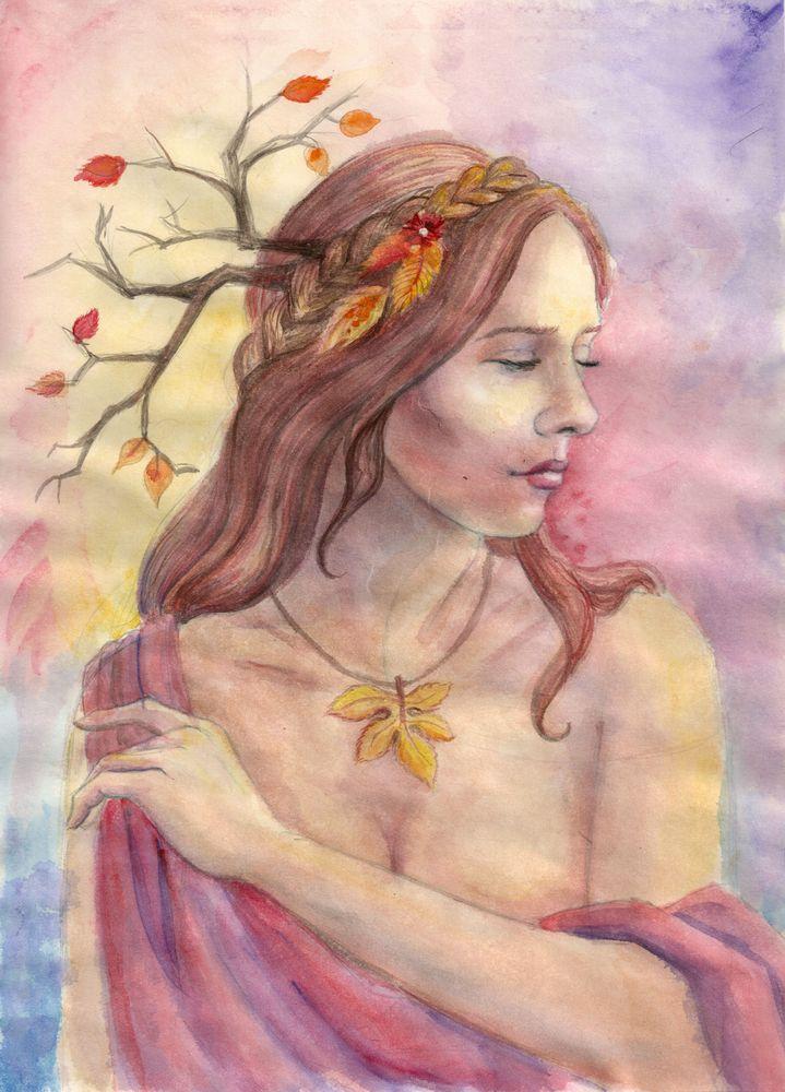 Lenore-Autumn in watercolor by AlbinaDiamond